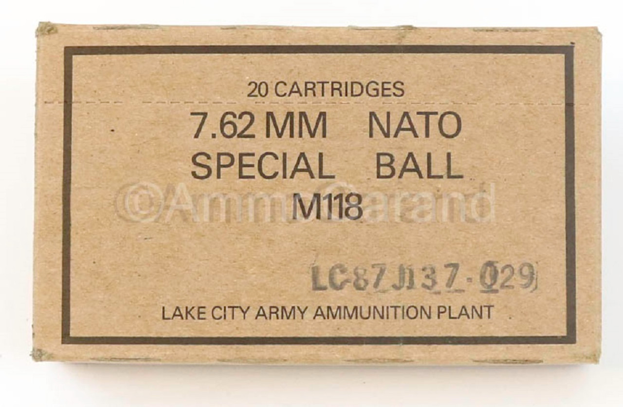 M118 Special Ball 7.62mm .308 Sniper Match use Lake City 20rd Box 1987 Lot-029
