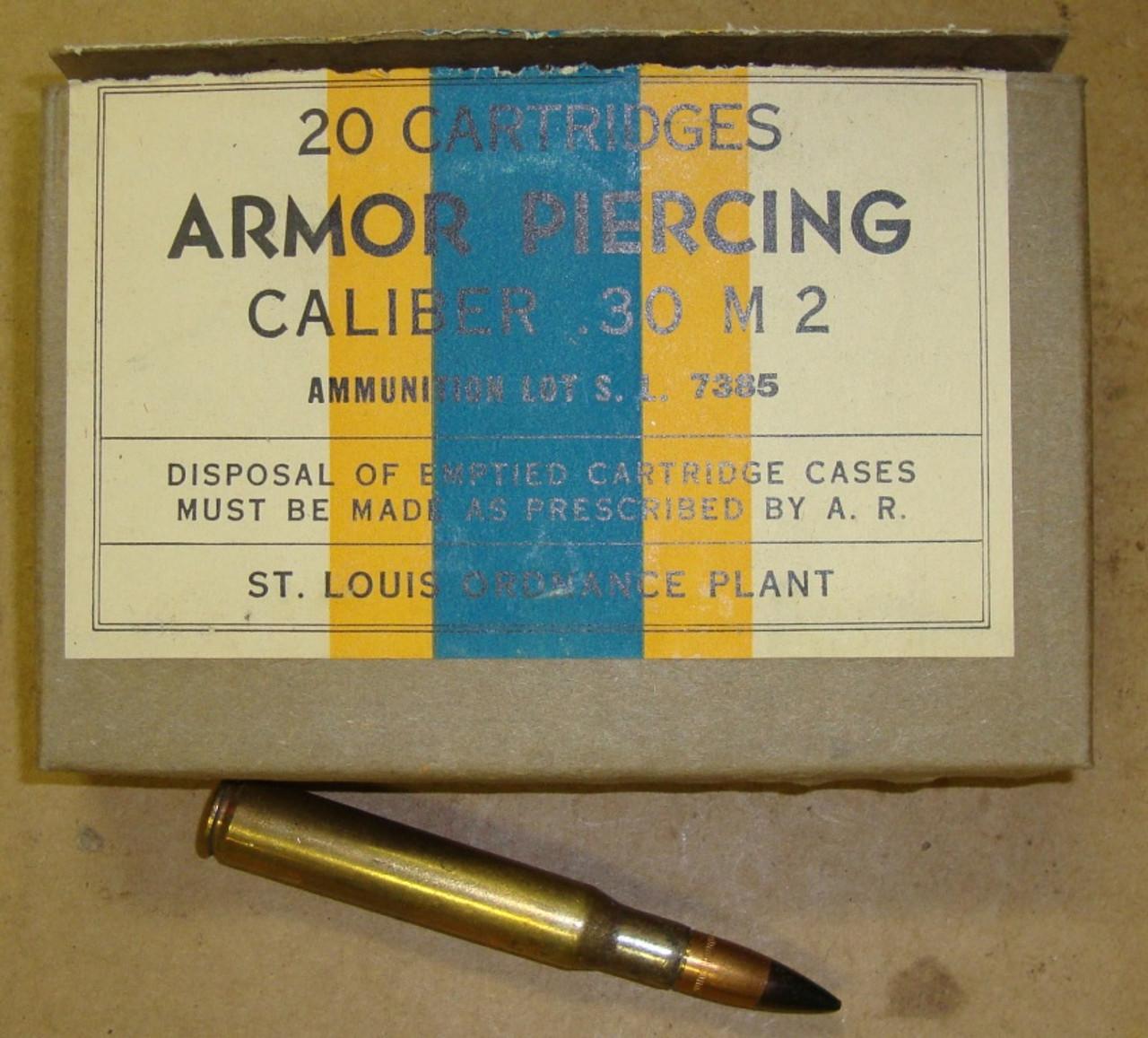 30-06 Armor Piercing 20rd Box Saint Louis 1943 Production WWII