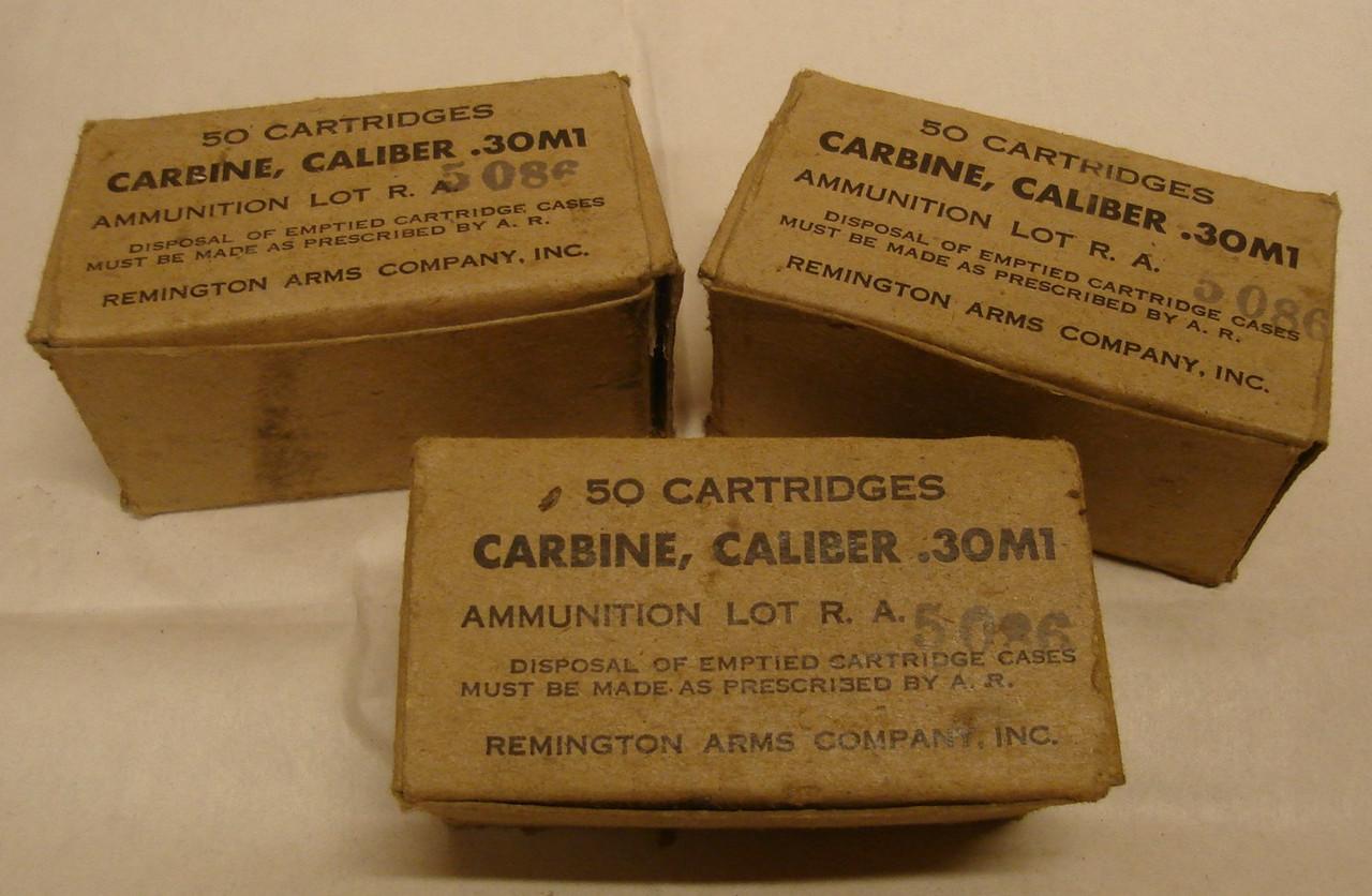 WWII 30 M1 Carbine Ammo Remington Arms RA 43 50rd Box
