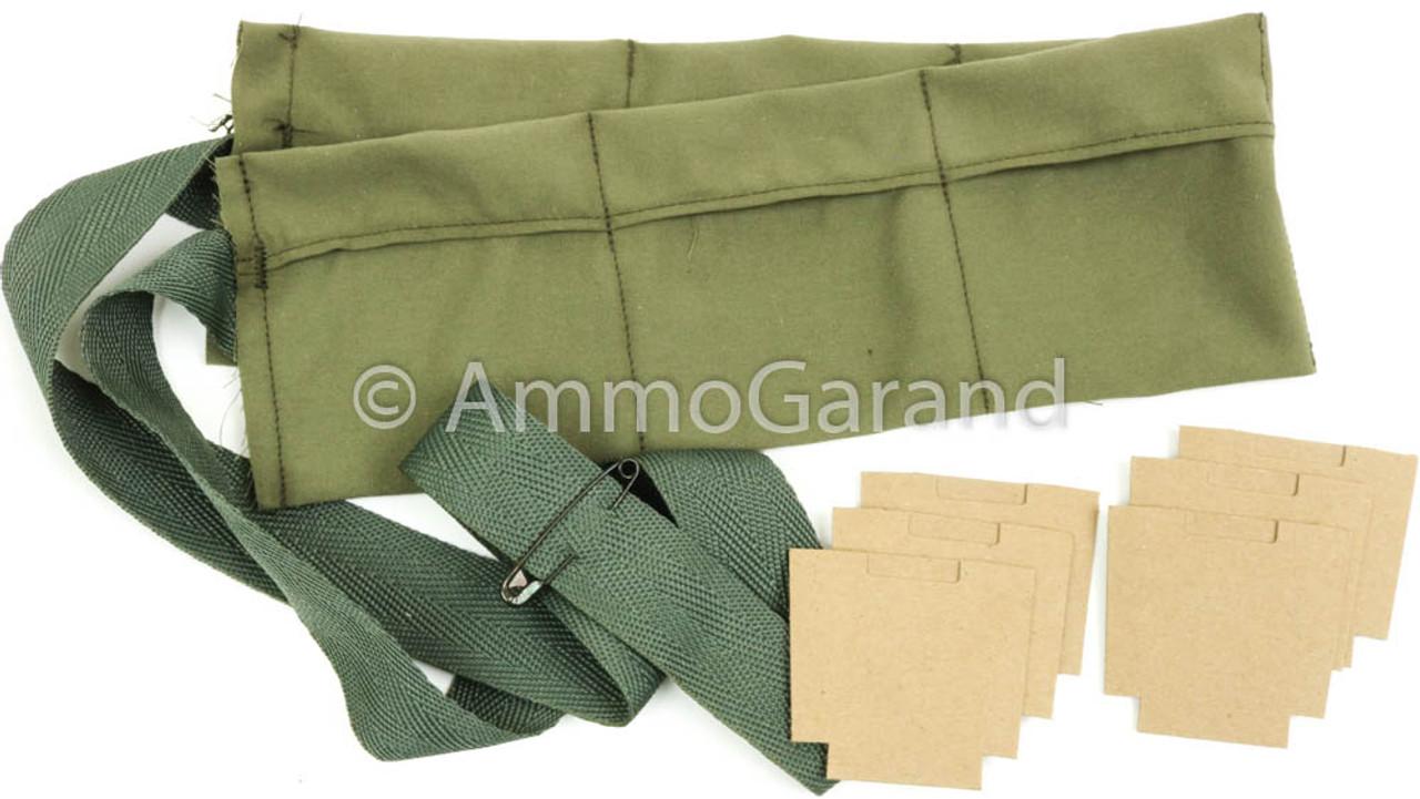 USGI 6-Pocket Bandoleer and 8rd Cardboard Insert Set for M1 Garand 30-06