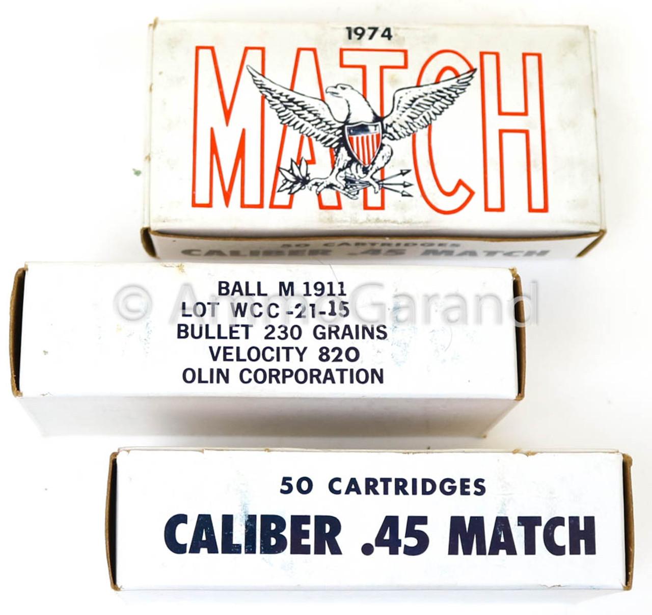 .45 ACP Match USGI 230gr FMJ Ball 50rd Box 1974 Lot WCC-21-15