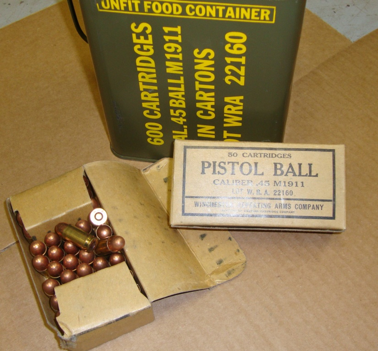 .45 ACP 50rd Box Winchester WRA 1945 WWII