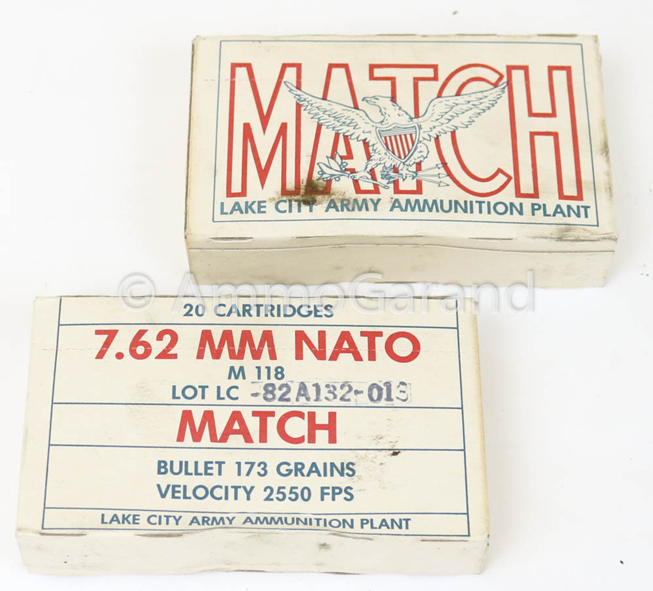 .308 7.62mm Match M118<br>Lake City 1982<br>Lot 013 20rd Box