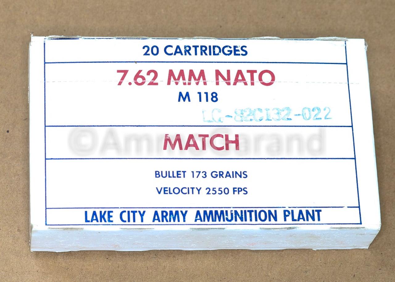 7.62 MM Match M118<br>Lake City 1982<br>Lot 022 20rd Box