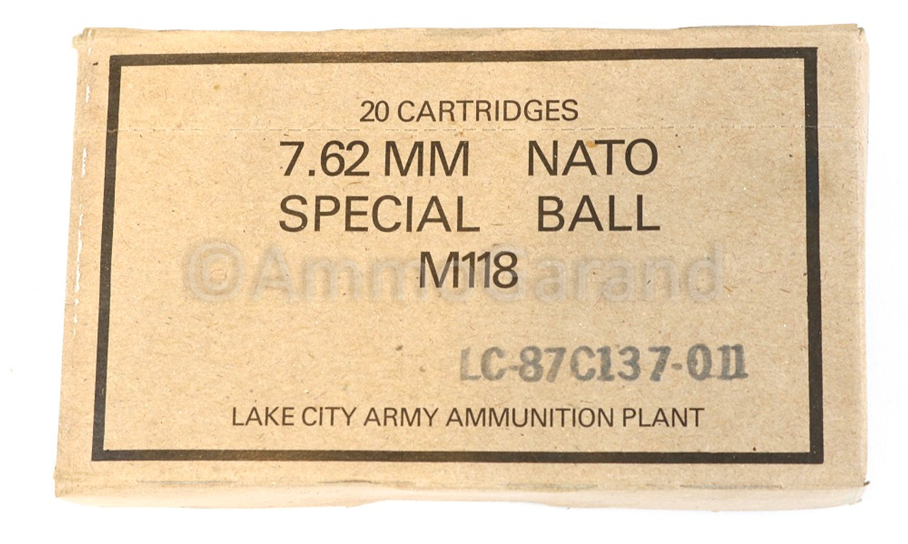 M118 Special Ball 7.62mm .308 Sniper Match use Lake City 20rd Box 1987 Lot-011