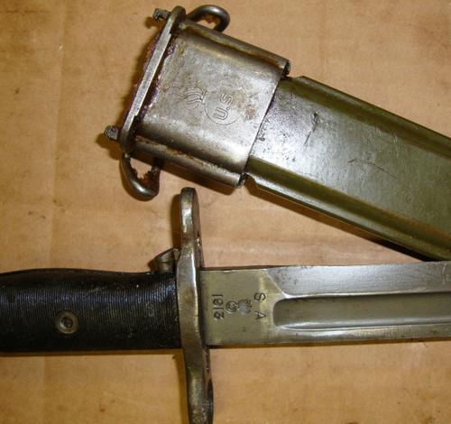 "M1 Garand WWII Bayonet Springfield SA ""Bowie"" Tip w/Scabbard 10"" M1905 Mod"