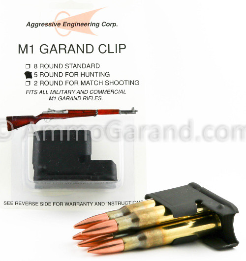 Garand 5rd Clip with reference ammunition to show loading