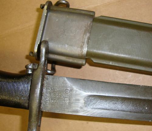 """M1 Garand Bayonet 1943 OL w/Scabbard 10"""" """"Bowie"""" Point WWII MODIFIED"""