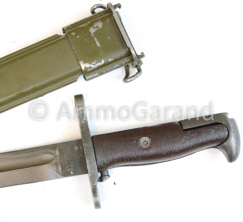 """M1 Garand Bayonet UFH w/Scabbard 10"""" WWII UNMODIFIED with Early Brown Grips"""