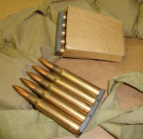 30-06 M2 Ball 60rd Bandoleer on 5rd 1903 Stripper Clips WWII Winchester 1945<br>Corrosive / Boxer Primed Reloadable