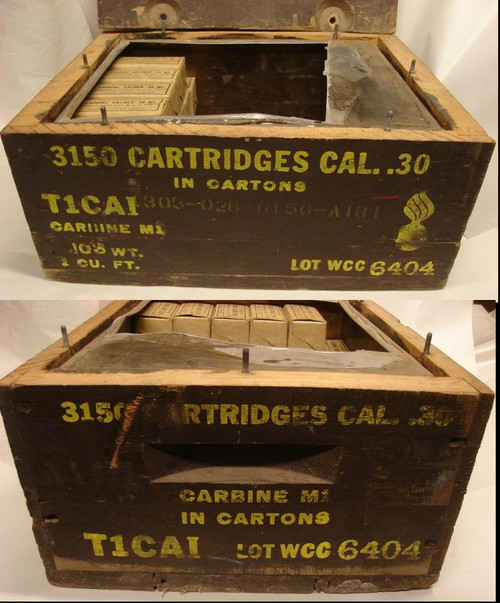 WWII 30 M1 Carbine Wooden Ammo Case Winchester WCC 1943