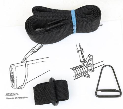 """USGI Web Sling & Adapter Set, """"Silent"""" Black Nylon Govt Issue US for M16 AR15"""