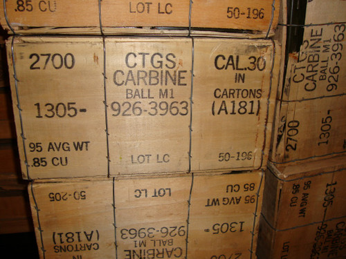 .30 M1 Carbine Ball Ammo Lake City 2700rd Crate in 50rd Boxs and Cans USGI Surplus <br>NON-Corrosive / Boxer Primed Reloadable