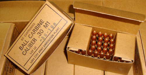 .30 M1 Carbine Ball Ammo Lake City 1350rd Can packed in 50rd Boxes USGI Surplus <br>NON-Corrosive / Boxer Primed Reloadable