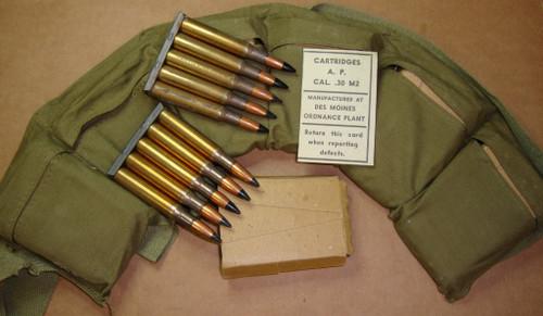 30-06 AP M2 60rd Bandoleer in 5rd 1903 Stripper Clips WWII<br>Des Moines 1943<br>Corrosive / Boxer Primed Reloadable