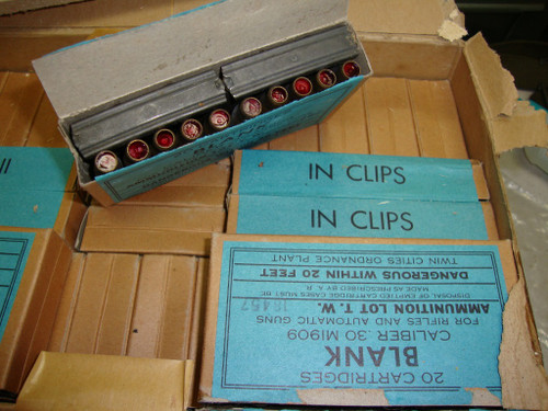 30-06 Blanks .30 M1909 Twin Cities  20rd Boxes (in 5rd 1903 Clips) WWII Production