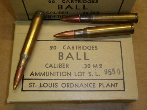 30-06 M2 150gr FMJ Ball Saint Louis <br>USGI SL 1952<br>20rd Box<br>NON-Corrosive / Boxer