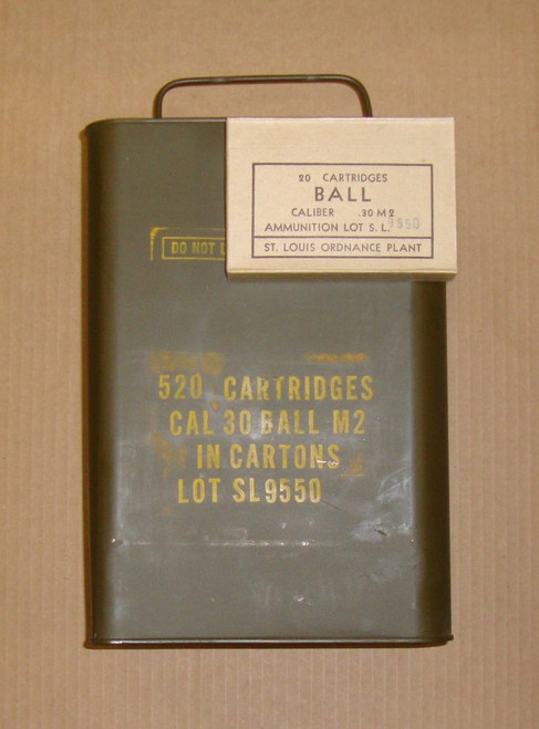 30-06 M2 150gr FMJ Ball Saint Louis <br>USGI SL 1952 <br>520rd Spam Can<br>NON-Corrosive / Boxer Primed Reloadable <br>**For Collectors**