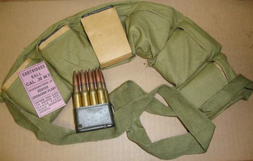 30-06 M2 48rd Bandoleer Denver Ordnance 1943 WWII in Clips w/ Data Card