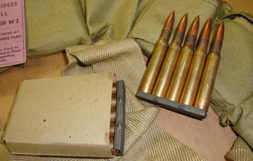 30-06 M2 Ball 60rd Bandoleer on 5rd 1903 Stripper Clips WWII DENVER 1943<br>Corrosive / Boxer Primed Reloadable