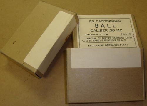 30-06 M2 150gr FMJ 20rd Boxes WWII Eau Claire Ordnance 1943