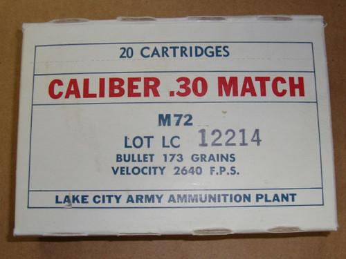 30-06 M72 .30 National Match Lake City 1964 Lot 12214<br>20rd Box