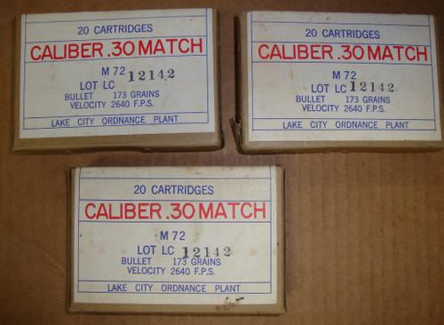 30-06 M72 .30 Match Lake City 1962<br> Lot 12151<br>20rd Box