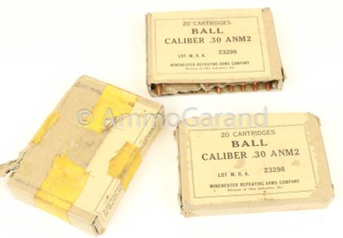 30-06 ANM2 150gr Ball Winchester WRA 1950's  USGI<br>20rd Box<br>NON-Corrosive / Boxer Primed Reloadable