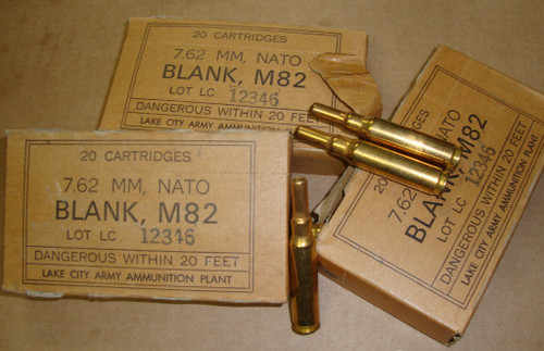 .308 7.62 MM NATO M82 Blanks 20rd Box Lake City 1964<br>20rd Box <br>NON-Corrosive / Boxer Primed Reloadable