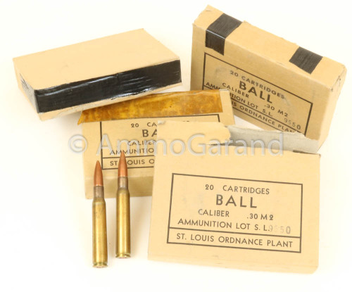 30-06 M2 150gr FMJ Ball Saint Louis <br>USGI SL 1952<br>20rd Box