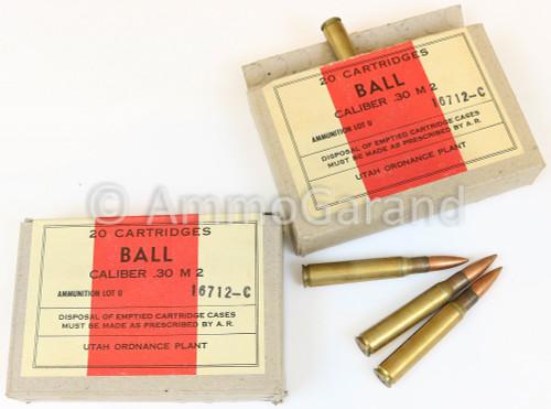30-06 M2 20rd Box Utah Ordnance WWII 1943 Seal Open
