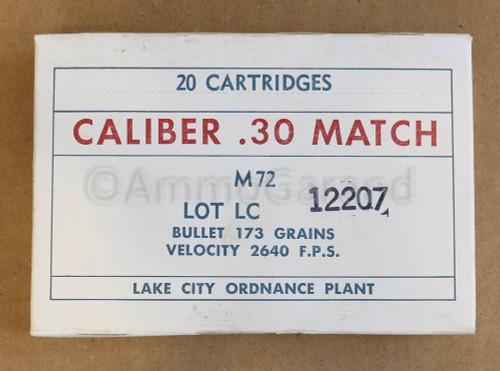 30-06 M72 .30 National Match Lake City 1963 Lot 12207<br>20rd Box