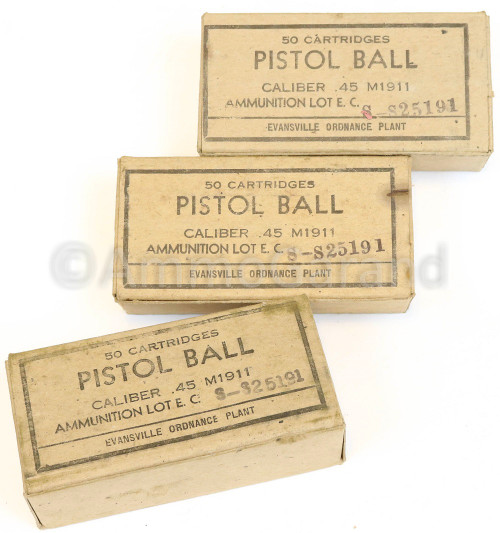 .45 ACP M1911 Ball Evansville 50rd Box WWII 1943<br> Lot S-S25191