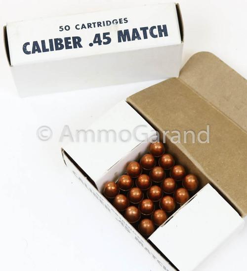 .45 ACP Match USGI 230gr FMJ Ball 50rd Box 1975 Lot WCC-21-20