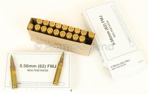 5.56mm M855 FMJ Winchester WCC NATO Green Tip Penetrator 20rd Box