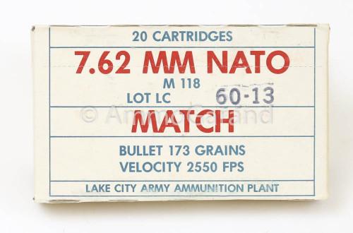 .308 7.62mm Match M118<br>Lake City 1977<br>Lot 60-13 20rd Box