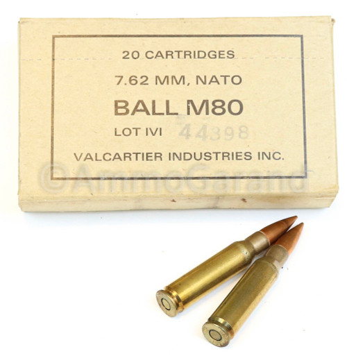 M80 Ball 7.62mm NATO .308 Canadian<br>IVI 1969<br> 20rd Box