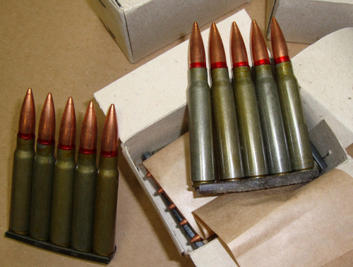 8mm Mauser (8x57 7.92 7,92) on 5rd Stripper Clips Romainian 70's <br>20rd Boxes<br>Corrosive / Berdan Primed