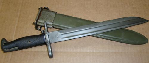 """M1 Garand Bayonet 1917 RIA w/Scabbard 10"""" """"Bowie"""" Point WWII MODIFIED"""