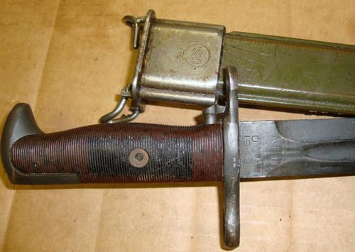 "M1 Garand Bayonet  AFH w/Scabbard 10"" WWII MODIFIED"