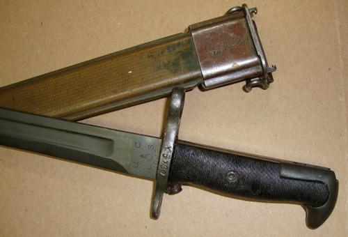 """M1 Garand Bayonet U C w/Scabbard 10"""" """"Bowie"""" Point WWII 1942 MODIFIED"""