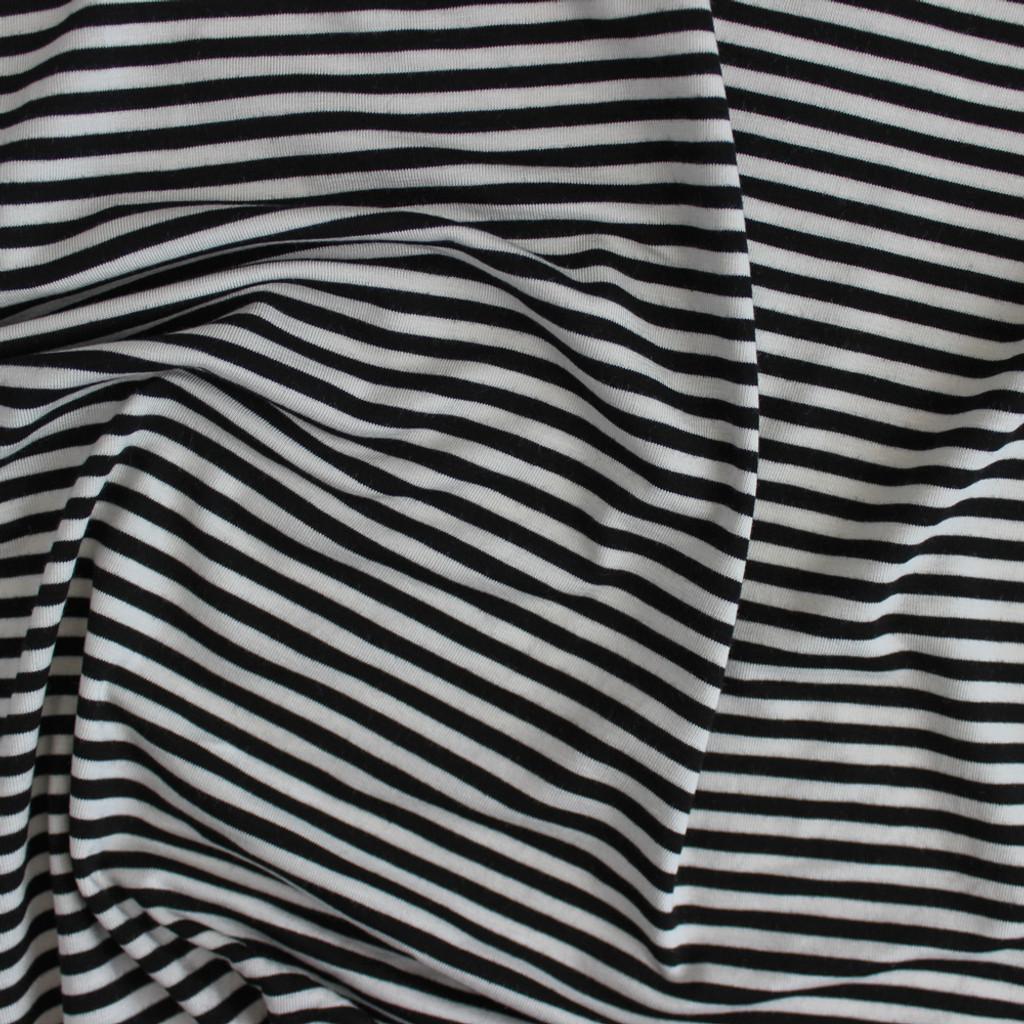 34b326e9352 Mini Striped Bamboo Jersey Knit - Black/Ivory | Blackbird Fabrics