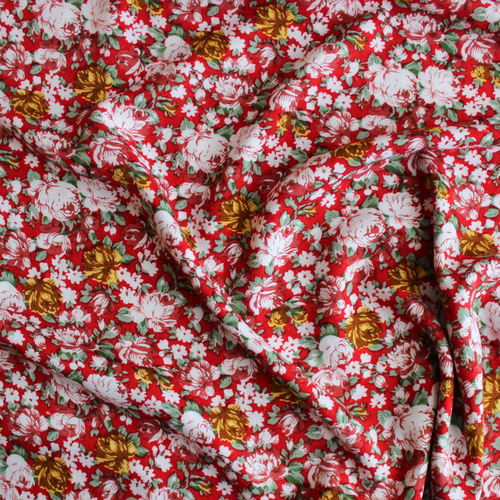 3c6f9236088 Floral Rayon Challis - Red Multicolour