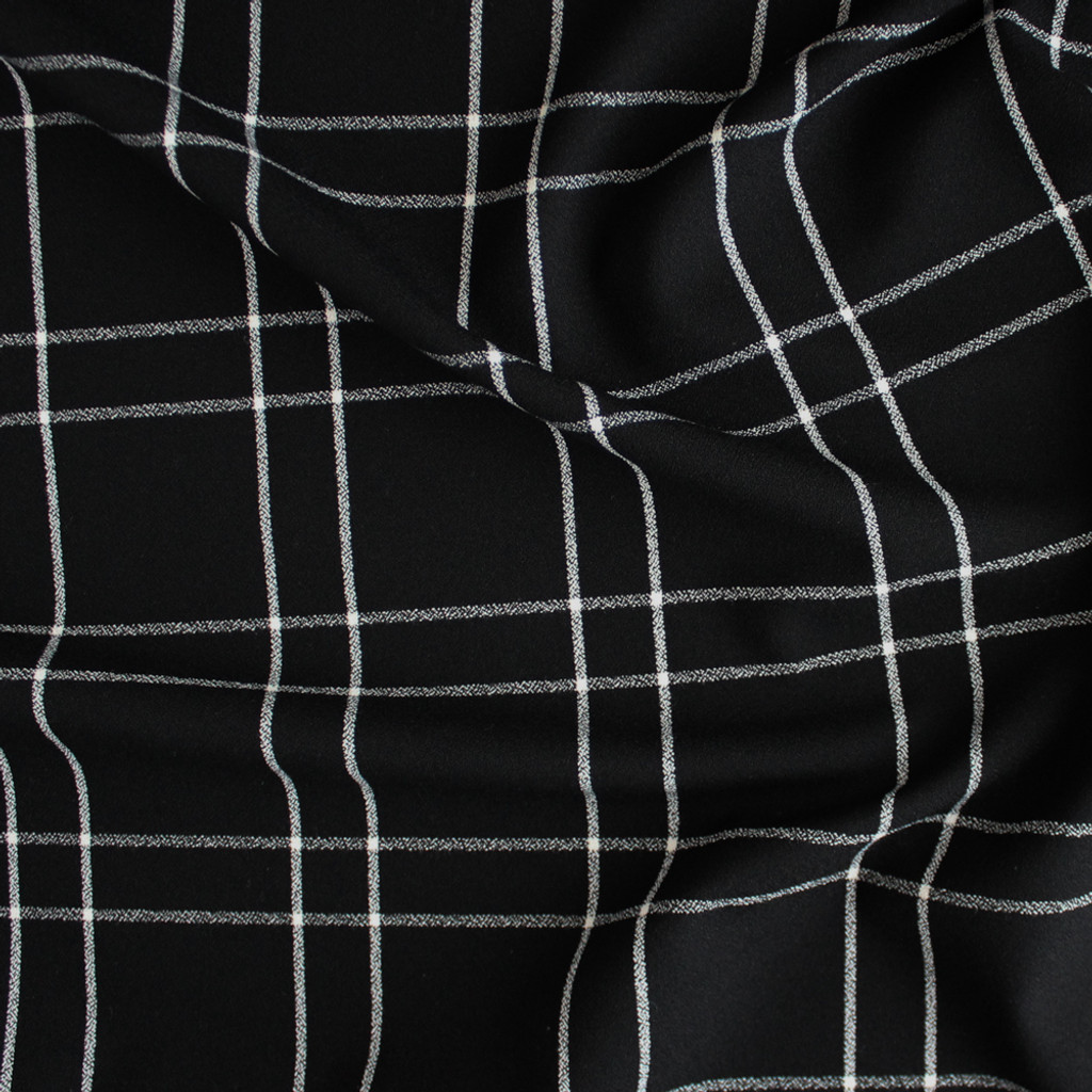 Windowpane Plaid Stretch Crepe Blackwhite Blackbird Fabrics