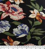 Floral Viscose Poplin - Black/Brick/Blue | Blackbird Fabrics