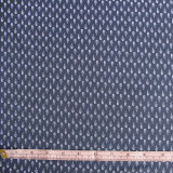 Mini Feathers Poly Crepe de Chine Print - Navy - 1/2 meter