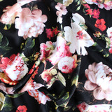 Floral Mid-Weight Viscose Twill - Black/Pink - 1/2 meter
