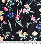 Floral Lightweight Viscose Poplin - Black/Multicolour | Blackbird Fabrics