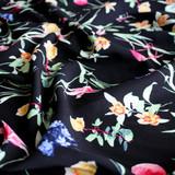 Floral Lightweight Viscose Poplin - Black/Multicolour - 1/2 meter