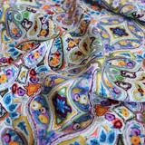 Paisley/Damask Viscose Poplin - Sage/Lavender/Yellow/Blue - 1/2 meter